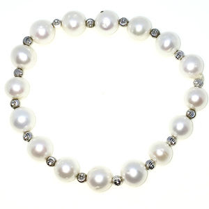 Silver Elastic Bangle Bracelets beads and pearl